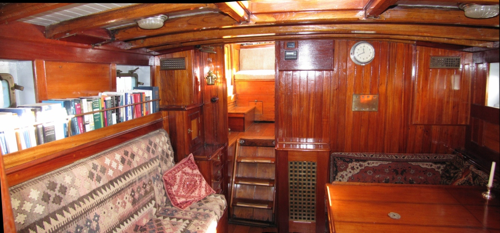 In the saloon, looking aft